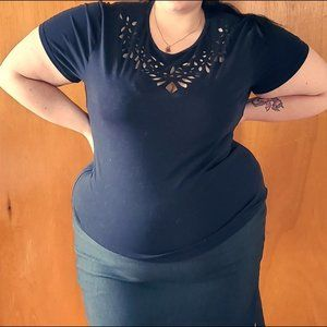 NWOT Soft Navy cute Tee with cutouts